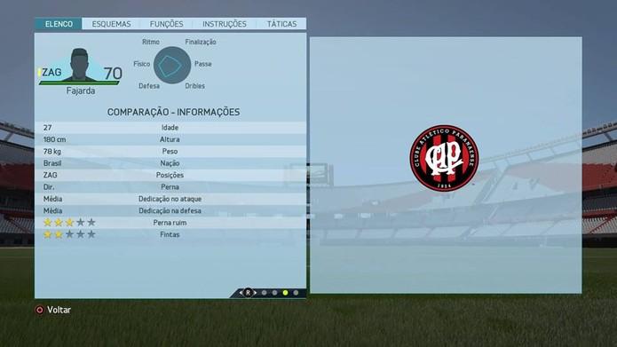 Zagueiro Fajarda - Atlético Paranaense (Foto: Reprodução/Lucas Mendes)