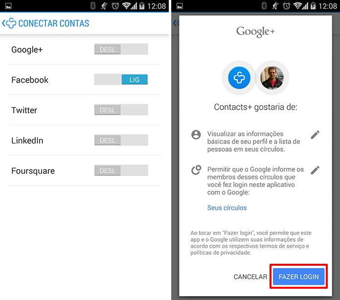 Contacts+ pode se conectar ao Google+, Facebook, LinkedIn e outras redes sociais no Android (Foto: Reprodução/Elson de Souza)
