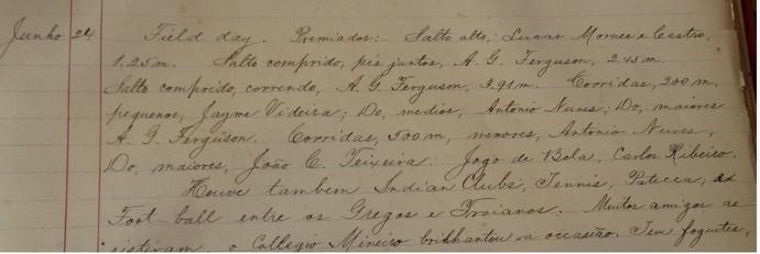 Documento Granbery 1893 Juiz de Fora (Foto: Bruno Ribeiro)