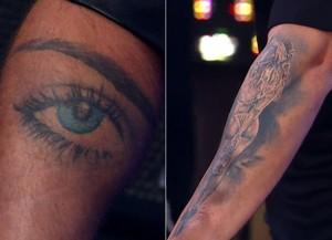 Gagliasso mostra tatuagens para a mulher, Gio Ewbank (Foto: TV Globo)