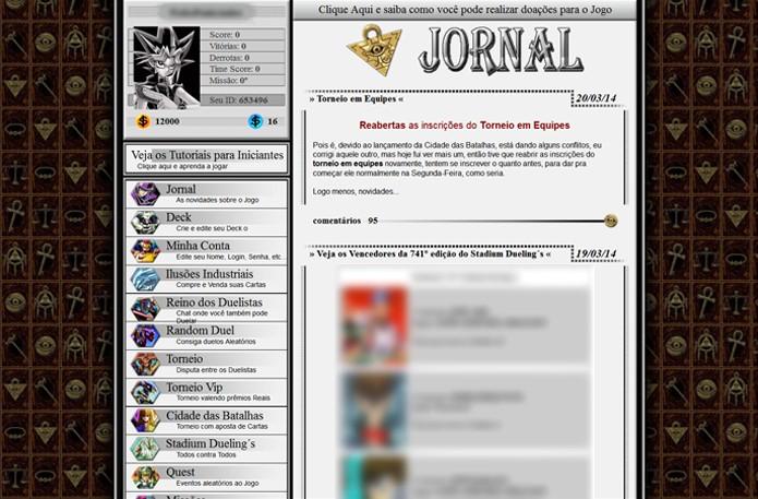 Yu-Gi-Oh Online traz muitos menus, mas não se desespere! (Foto: Reprodução/ Matheus Vasconcellos)
