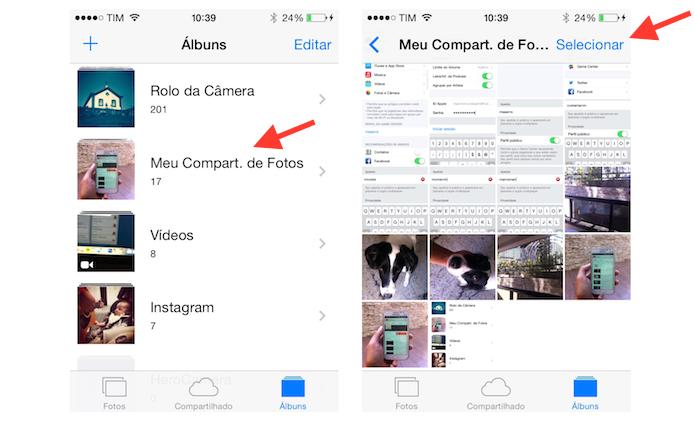 Acessando o álbum de compartilhamento de fotos no iOS (Foto: Reprodução/Marvin Costa)