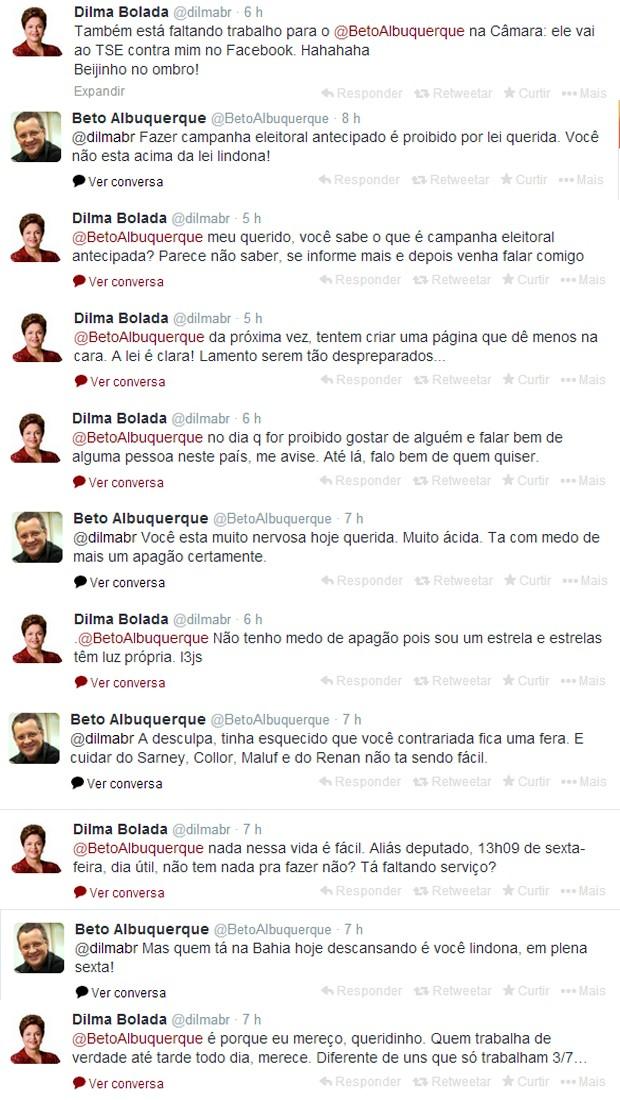 Bate boca entre Dilma Bolada e o deputado Beto Albuquerque (PSB-RS) (Foto: Reprodução/Twitter)