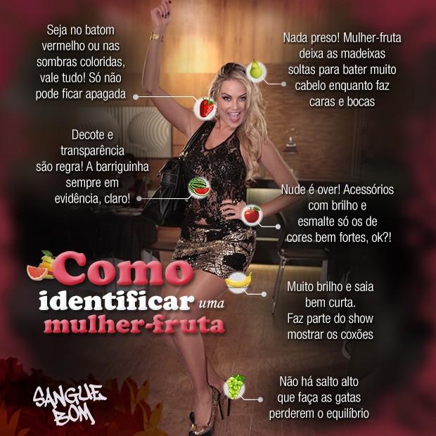 Arte como identificar uma mulher-fruta (Foto: Sangue Bom / TV Globo)