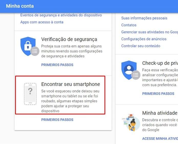 """Acesse o recurso """"Encontrar seu smartphone"""" do Google (Foto: Reprodução/Taysa Coelho)"""