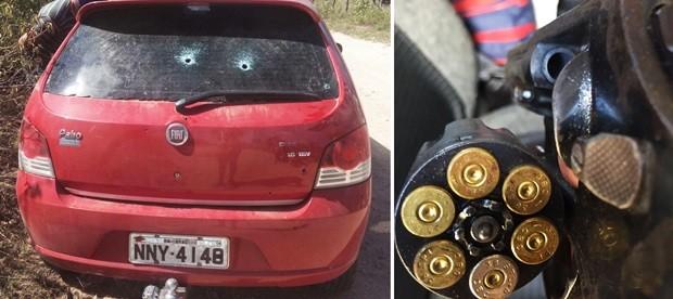 Carro usado pelos criminosos foi atingido pelos disparos. Com o suspeito morto, policiais apreenderam uma arma (Foto: Divulgação/PM)