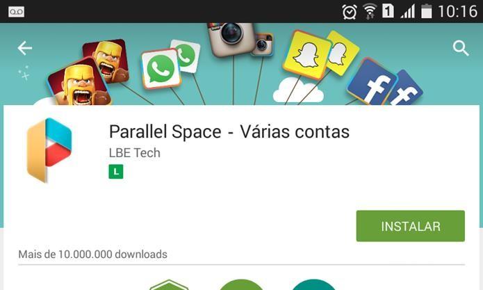 Parallel Space é um aplicativo gratuito que permite usar duas instalações diferentes de um mesmo app (Foto: Reprodução / Dario Coutinho)