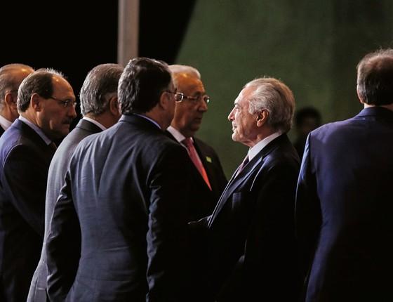 Michel Temer durante jantar com governadores. (Foto: Marcos Correa/ PR)