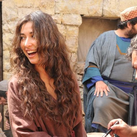 Giselle Itié nas gravações de Milagres de Jesus (Foto: Michel Angelo/Record)