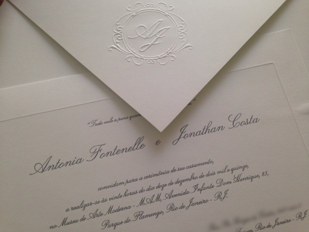 Convite de casamento de Antonia Fontenelle e Jonathan Costa (Foto: Divulgação)