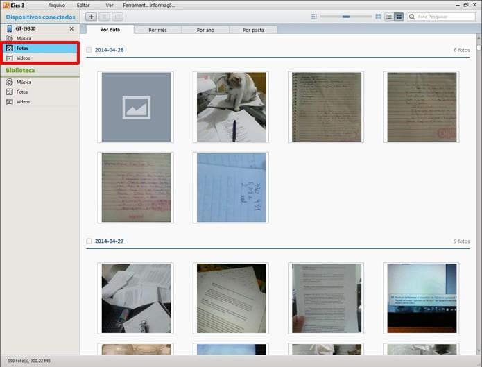 """Em """"Fotos"""" e """"Vídeos"""" o Samsung Kies irá exibir as mídias de imagem em seu aparelho (Foto: Reprodução/Daniel Ribeiro)"""