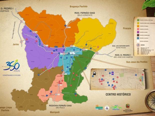 Mapa Turístico de Atibaia  (Foto: Reprodução/Site oficial de Atibaia)