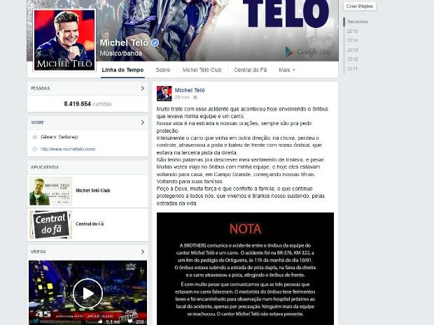 Michel Teló lamenta o acidente; cantor fez um post no Facebook sobre o ocorrido (Foto: Reprodução / Facebook)
