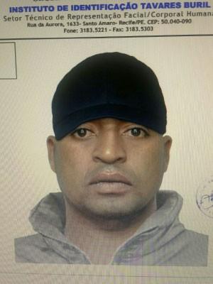 Retrato falado do suspeito detido pela polícia (Foto: Divulgação / Polícia Civil)