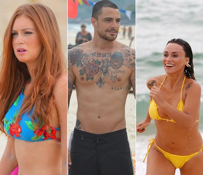 Verão inspirou muitas cenas na praia nas novelas (Foto: Pedro Carrilho / Gshow e Ellen Soares / Gshow)