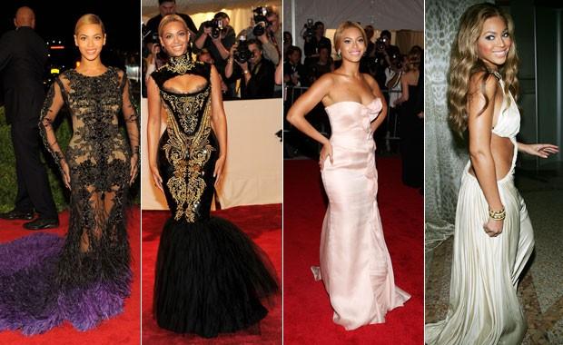 Da esq. para a dir.: Beyoncé em 2012, 2011, 2008 e 2004 (Foto: Getty Images)