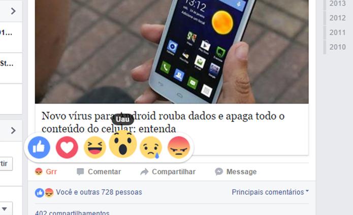 Facebook Reactions é o novo conjunto de reações para substituir botão curtir (Foto: Reprodução/Elson de Souza) (Foto: Facebook Reactions é o novo conjunto de reações para substituir botão curtir (Foto: Reprodução/Elson de Souza))