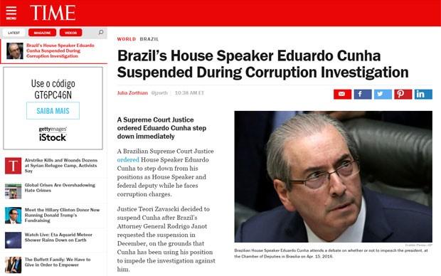 A revista Time também noticiou o afastamento de Eduardo Cunha da Câmara (Foto: Reprodução/Time)