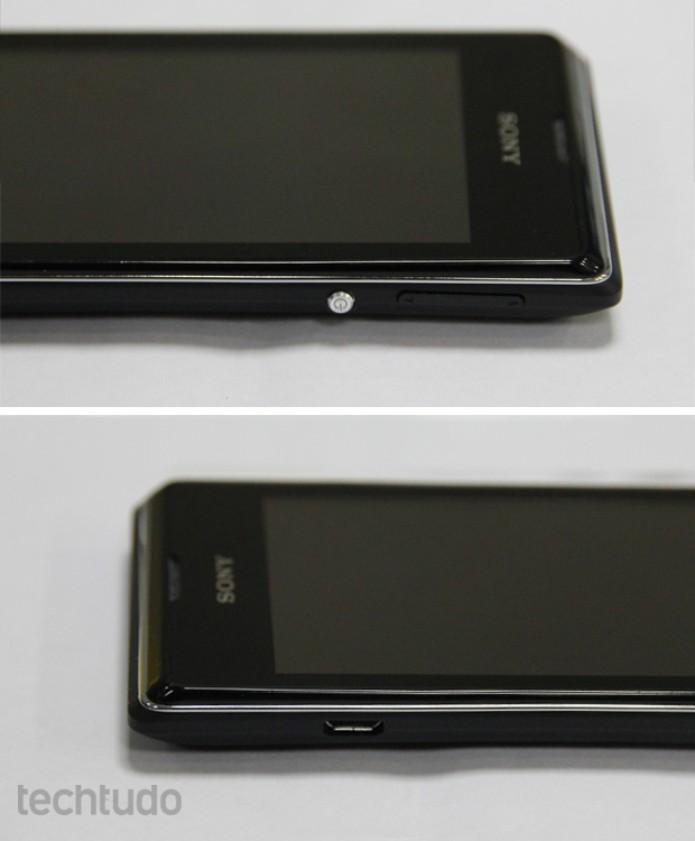 Entrada USB e botão de liga/desliga do Xperia E Dual (Foto: Isadora Díaz/TechTudo)
