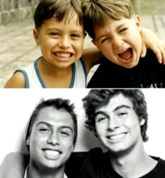 Francisco e Rafael Vitti quando eram bem pequenos e recentemente (Foto: Arquivo Pessoal)