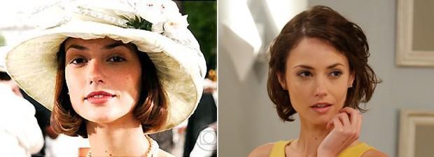 À direita, Rosanne aparece na pele de Maria Luísa Lemos, em JK, e à esquerda como Débora, de Alto Astral  (Foto: TV Globo)