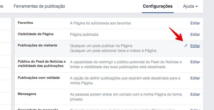 Configurando quem pode publicar em sua página (Foto: Reprodução/Helito Bijora)