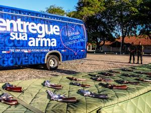 Armas recolhidas foram entregues ao Exército (Foto: Natália Souza/G1)