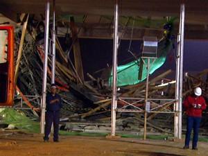Acidente nas obras de ampliação do aeroporto de Viracopos (Foto: Reprodução / EPTV)