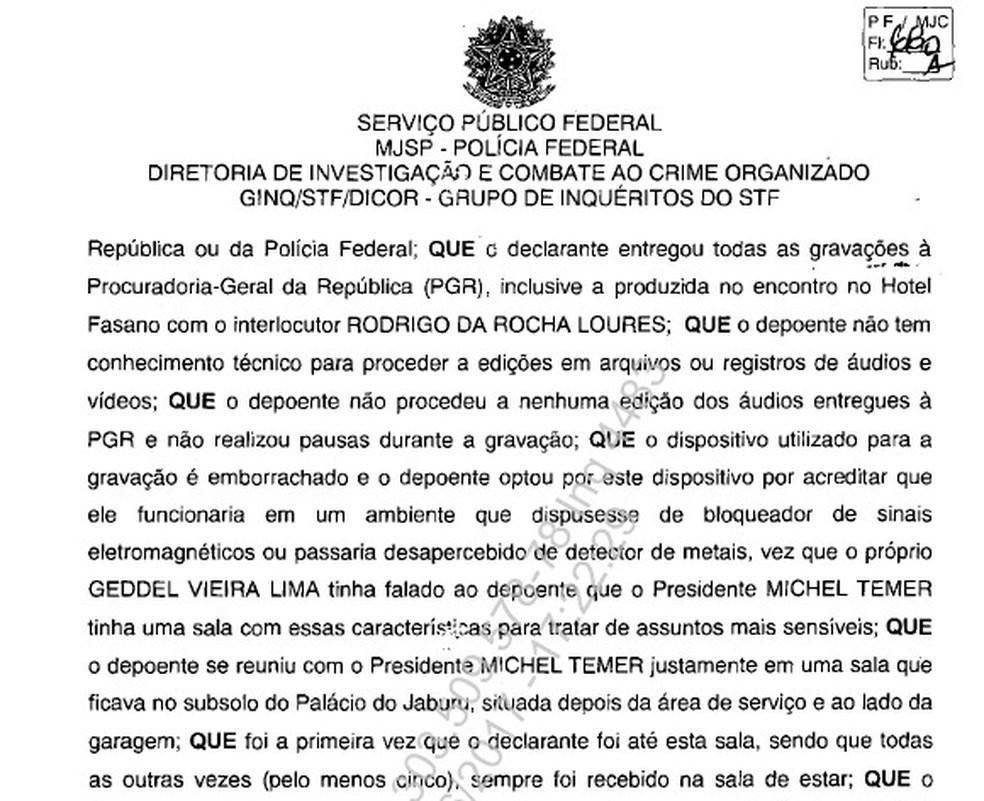 Trecho do depoimento de Joesley Batista à Polícia Federal (Foto: Reprodução/PF)