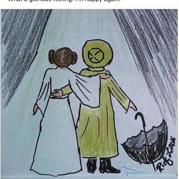 """Imagem compartilhada por Todd Fisher no Twitter mostra a Princesa Leia e Kathy Selden, de """"Dançando na Chuva"""", caminhando em direção ao paraíso (Foto: Reprodução)"""