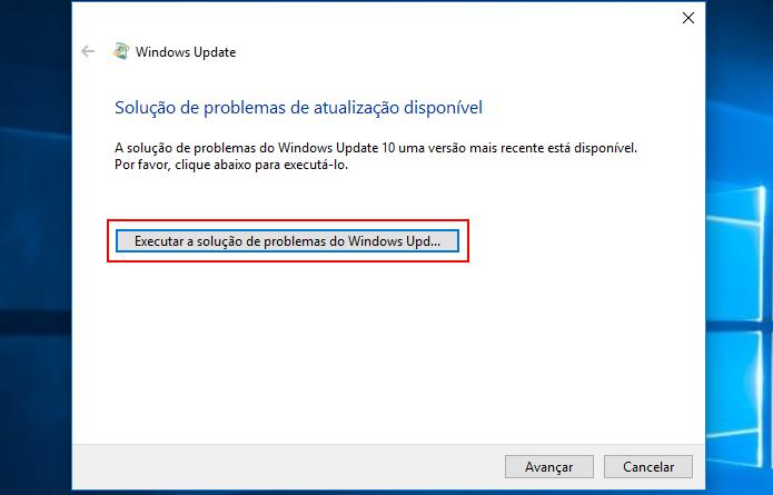 Iniciando o solucionador de problemas de atualizações do Windows (Foto: Edivaldo Brito)