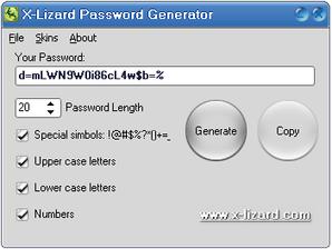 Interface do X-Lizard Password Generator