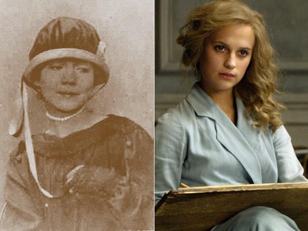 À esquerda, a pintora Gerda Wegener, e, à dir., Alicia Vikander em 'A garota dinamarquesa' (Foto: Fine Art Images/Heritage Images/Getty Images e Divulgação)