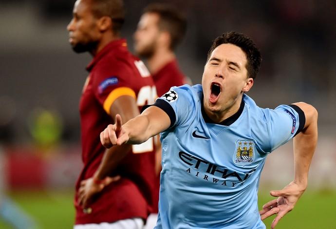 Roma x Manchester City - Samir Nasri comemora gol (Foto: AFP)