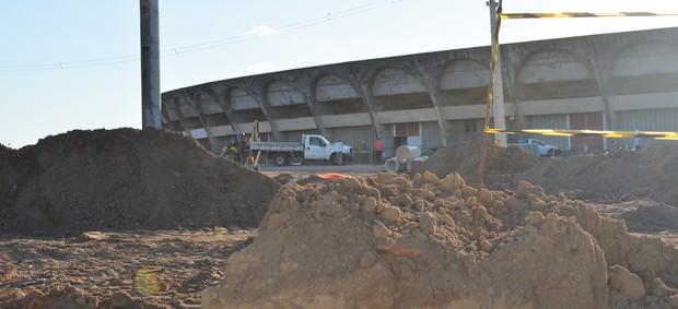 estádio almeidão, almeidão, reformas do almeidão, reformas do estádio almeidão (Foto: Lucas Barros / Globoesporte.com/pb)