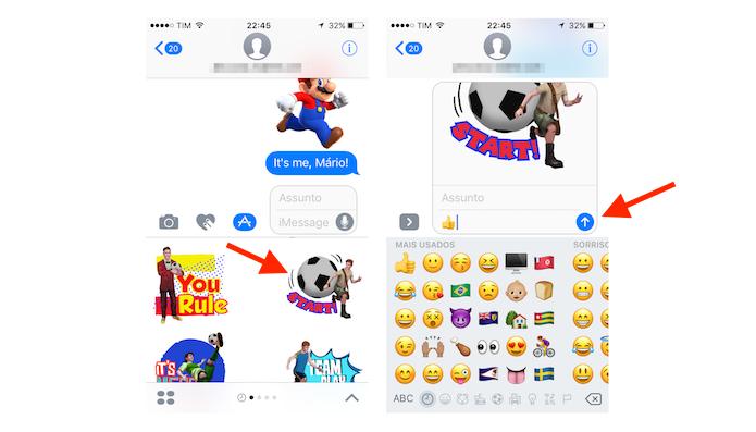 Mensagem com stickers baixados através da loja de aplicativos do iMessage do iOs 10 (Foto: Reprodução/Marvin Costa)