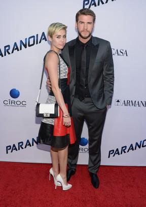 Miley Cyrus e Liam Hemsworth (Foto: Agência/ AFP)