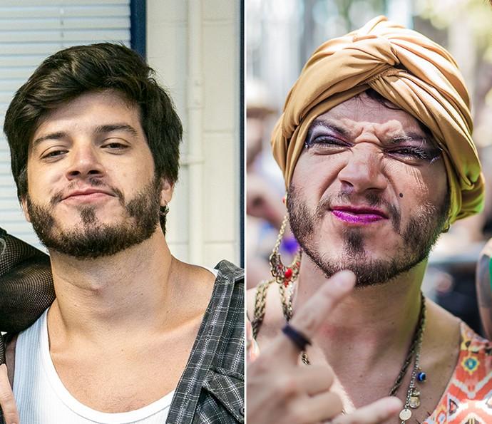 Fred se transforma em Cindy Furacão (Foto: Isabella Pinheiro/Gshow e Pedro Arantes/Divulgação)