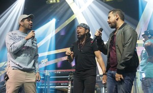 Dilsinho, Bell Marques e Xand no ensaio do Música Boa Ao Vivo