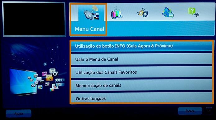 O manual digital será aberto na tela com categorias no topo (Foto: Reprodução/Barbara Mannara)