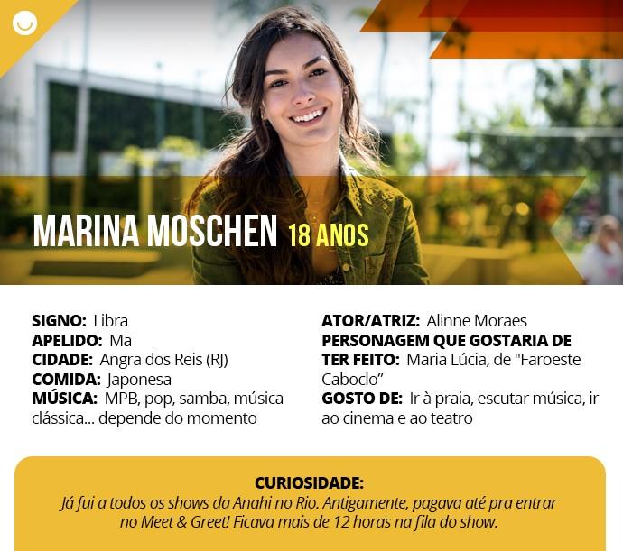 Card com informações curiosas de Marina Moschen (Foto: Gshow)