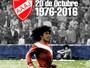No aniversário de 40 anos da estreia, Maradona exalta Riquelme e Rivellino