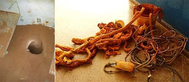 Corda, balde e fios elétricos foram encontrados dentro do túnel  (Foto: G1/RN)
