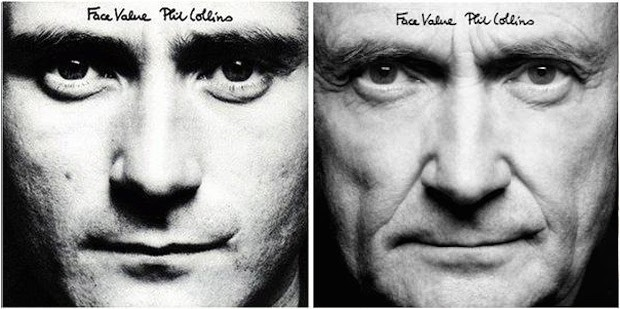 Phil Collins na capa de 'Face value' (1981) e na edi��o de relan�amento do �lbum em 2015 (Foto: Divulga��o)