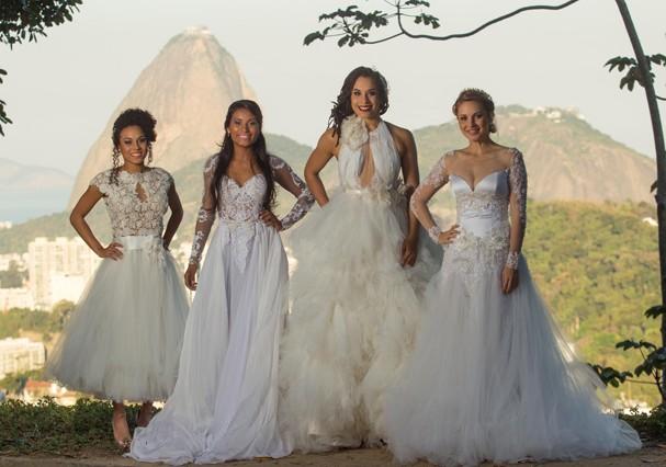 Atletas posam de noivas (Foto: Divulgação)