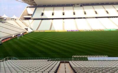 Novo corte do gramado da Arena Corinthians (Foto: divulgação/World Sports)