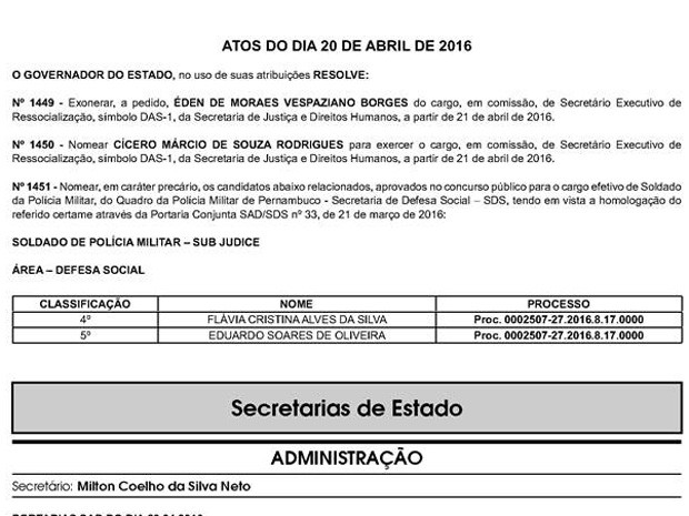 Diário Oficial de Pernambuco trouxe a nomeação do novo secretário-executivo de Ressocialização, nesta quinta-feira (21) (Foto: Reprodução/Diário Oficial)