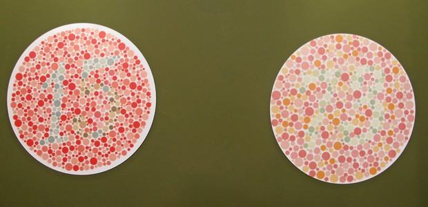 Imagens mostram números no meio das cores para testar se as pessoas têm dificuldade na percepção (Foto: Mariana Palma/G1)