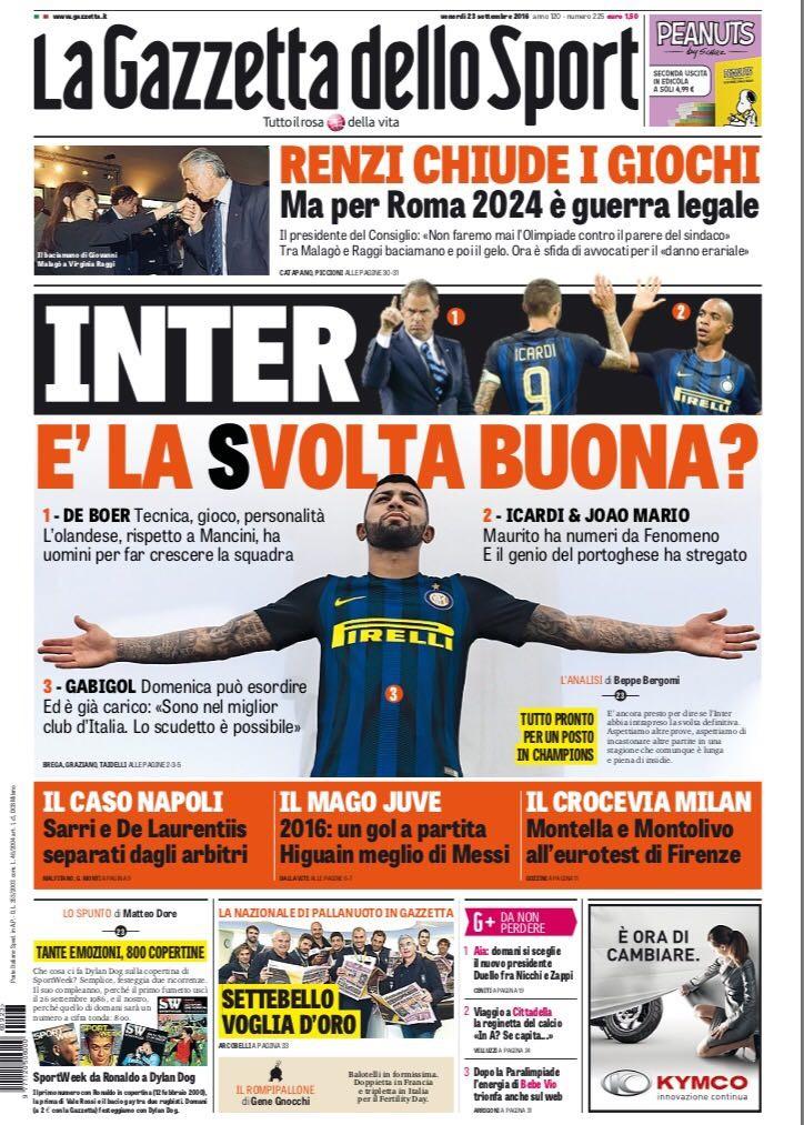 """BLOG: Gabigol estampa capa de jornal italiano e exalta Inter: """"Melhor clube do país"""""""