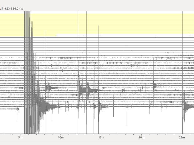 Sismograma registrou o abalo sísmico de 3.8 de magnitude entre São Caetano e Caruaru (Foto:  Divulgação/ LabSis/UFRN)